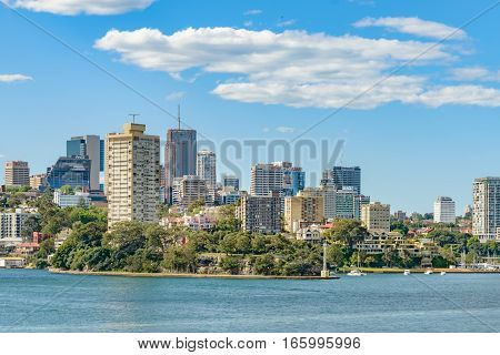 SYDNEY, AUSTRALIA - OCTOBER 11, 2016:  View of Blues Point Reserve and McMahons Point close to Sydney Harbour in Australia.