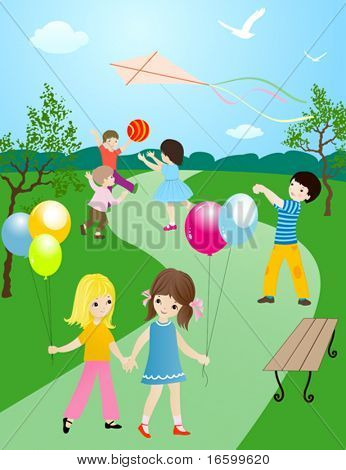 happy children playing and having fun outside in nature; joyful illustration