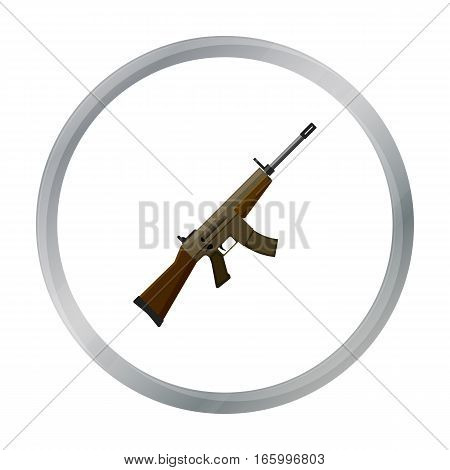 Military assault rifle icon in cartoon style isolated on white background. Military and army symbol vector illustration - stock vector