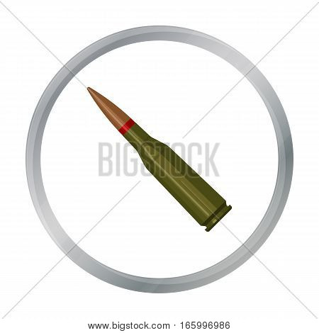 Military rifle bullet icon in cartoon style isolated on white background. Military and army symbol vector illustration - stock vector
