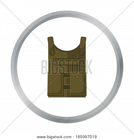 Army bulletproof vest icon in cartoon style isolated on white background. Military and army symbol vector illustration - stock vector