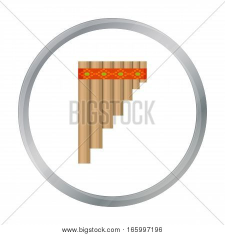 Mexican pan flute icon in cartoon style isolated on white background. Mexico country symbol vector illustration. - stock vector