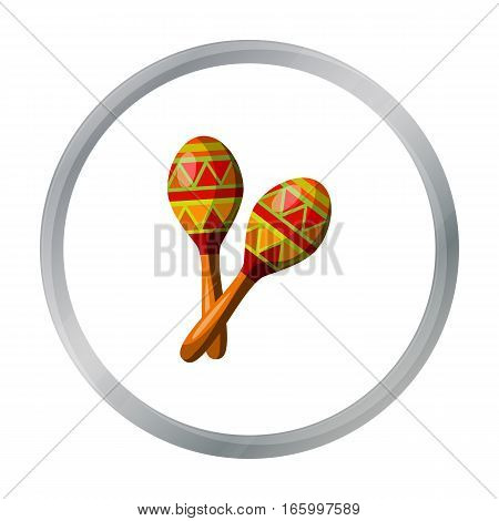 Mexican maracas icon in cartoon style isolated on white background. Mexico country symbol vector illustration. - stock vector