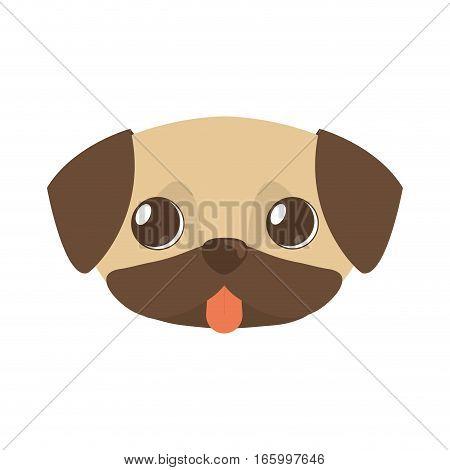 cute doggy brown tongue out vector illustration eps 10