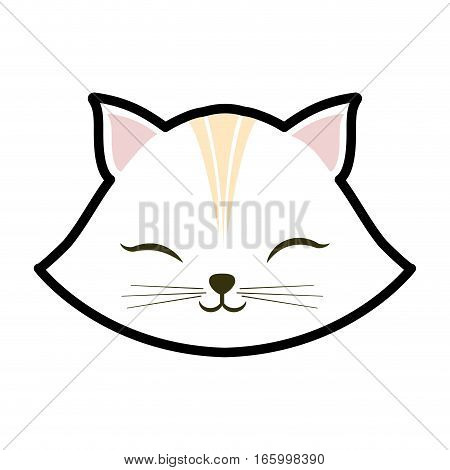 white cat kitty closed eyes animal cute vector illustration eps 10