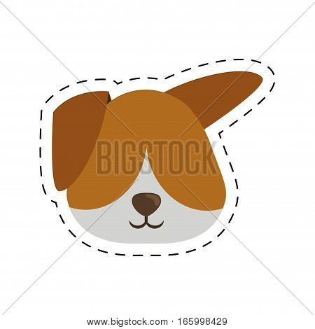face doggy pet with line dotted vector illustration eps 10