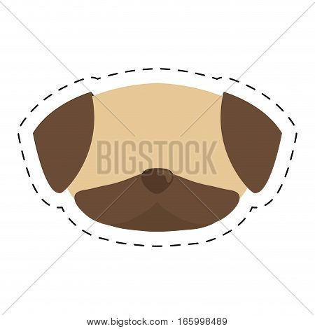 face doggy brown canine line dotted vector illustration eps 10