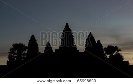 Angkor Wat temple before sunrise in Cambodia