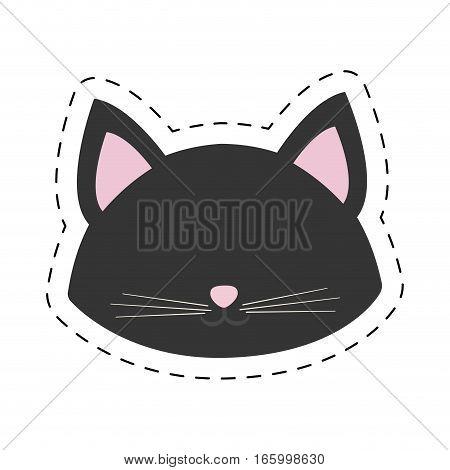 cat portrait pink ears line dotted vector illustration eps 10