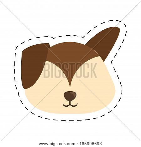 cartoon puppy dog big ears line dotted vector illustration eps 10