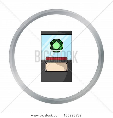 Diamond on a pedestal icon in cartoon style isolated on white background. Museum symbol vector illustration. - stock vector