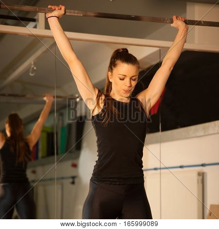 Woman Workout In Fitness Gym With Barbells - Powerlift Workout..