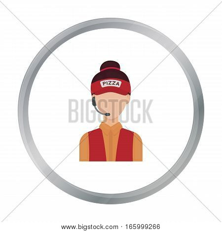 Saleswoman icon in cartoon style isolated on white background. Pizza and pizzeria symbol vector illustration. - stock vector