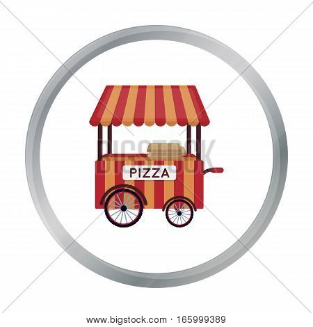 Pizza cart icon in cartoon style isolated on white background. Pizza and pizzeria symbol vector illustration. - stock vector