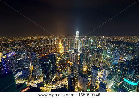 Kuala Lumpur downtown city night scene aerial view cityscape