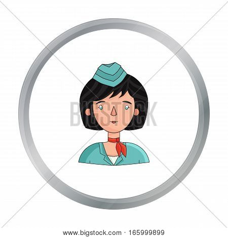 Stewardess icon in cartoon style isolated on white background. People of different profession symbol vector illustration. - stock vector