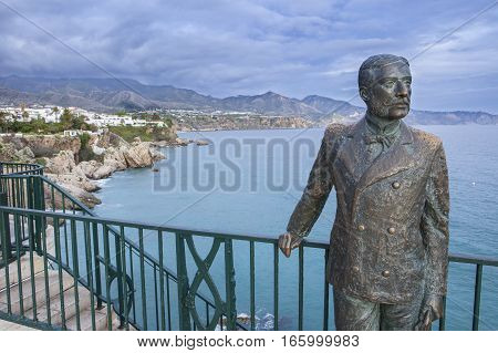 Nerja Spain - december 5 2016: monument to the King of Spain Alfonso XII on the promenade of the Mediterranean Sea in Nerja Spain
