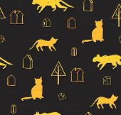 Hand made scandinavian nordic pattern with silhouette of cat and houses with trees isolated on black background.Simple animal fabric pattern.Domestic animal motif. poster