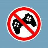 Stop video games. Ban Gamepad red sign. Prohibited joystick. Vintage video game gadget. console accessory poster
