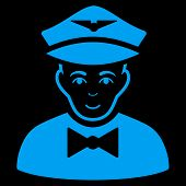 Airline Steward vector icon. Flat blue symbol. Pictogram is isolated on a black background. Designed for web and software interfaces. poster