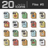 Files icon set 6 ( jpg avi mp3 mov dll zip raw eps html pdf doc csv ppt gif exe png xls txt eml wav ) vintage and retro style . poster