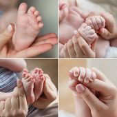A collage of four photos,the leg of the baby in mother's hands,mother's hands holding little hands of a newborn,the baby's legs in a gentle mother's arms,a newborn baby holding mother's index finger,body part,mother and child poster