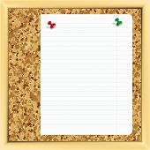 closeup of note paper on cork board. poster