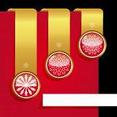 Christmas ribbon set with snowflakes . poster