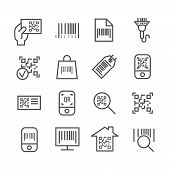 Bar and qr code scanning vector thin line icons. Bar code for scan price information, digital code for identification illustration poster