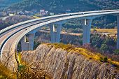 Crni Kal viaduct in Slovenia view with landscape of coastal region poster