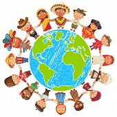 Nationalities. Different culture standing together holding hands. Unity children from around the world. Vector illustration. Isolated on white background. Earth day. Set poster