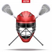 Lacrosse sticks and helmet Label. Sporting Symbol and mascot. Vector Illustration Isolated on background. poster