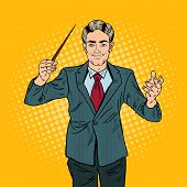 Pop Art Music Conductor Man with a Baton. Vector illustration poster