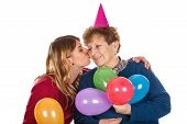 Picture of a senior lady celebrating birthday with her granddaughter poster