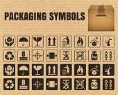 Packaging symbols on a cardboard background including Fragile Handle with care Keep dry This side up Flammable Recycled Package weight Do not litter Max stack Clamp and Sling here and others poster
