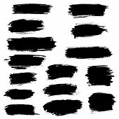 Vector black paint brush strokes, highlighter lines or felt-tip pen marker horizontal blobs. Marker pen or watercolor isolated lines or brushstrokes and dashes. Ink smudge abstract shape stains and smear traces set with grunge texture poster