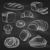 Bread icons. Chalk sketch on blackboard or chalkboard. Vector isolated wheat bread loaf brick or bagel, sliced rye bread toasts, crunch pie or cake, chocolate muffin with sweet croissant or cupcake dessert. Bakery shop, pastry or patisserie chalked design poster
