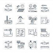 set of thin line icons aquaculture production process fish farming poster