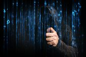 Computer hacker with hoodie in cyberspace surrounded by code online internet security identity protection and privacy poster