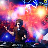 Dj playing disco house progressive electro music at the concert poster
