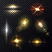 Lens and sunbeam light effect on transparent background. Star flare backdrop template or sparkle shine, bleak poster and burst illustration, bright explosion and zenith sun radiance, round ray spread poster