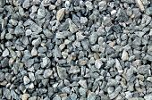 aggregate - a stack of gravel / grit consisting of light and dark gray coarse stones with irregular shapes and colors, broken and crushed to similar sizes at a stone pit. poster