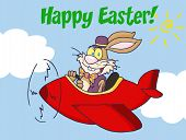Happy Easter Greeting Over An Easter Bunny Flying A Red Airplane poster