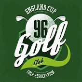 Golf ball for english club logo, sport banner. T-shirt print design and clothing advertising, sportsman wear and athletic game with clubs badge. Golfer association or british federation banner poster