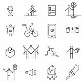 Set of thin line icons on the theme of urban initiatives social movements agitation and propaganda. poster