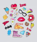 Set of stickers isolated. Icons for teenager age. Food, sweets, batman symbol, cap, diamonds, glasses, cat s muzzle, braincase in flat cut-out illustration design. For postcard, ads, posters poster