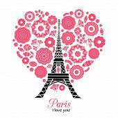 Vector Paris Eifel Tower Bursting With St Valentines Day Red Hearts Of Love. Great for travel themed postcards, greeting cards, wedding invitations, products, bags, accessories, luggage, clothing. poster