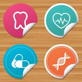 Round stickers or website banners. Maternity icons. Pills, tooth, DNA and heart cardiogram signs. Heartbeat symbol. Deoxyribonucleic acid. Dental care. Circle badges with bended corner. Vector poster