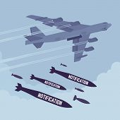 Aggressive heavy bomber aircraft dropping the bombs Notification, carring the operation to attack people, targeting on land from air, endless announcements, irritated informing poster