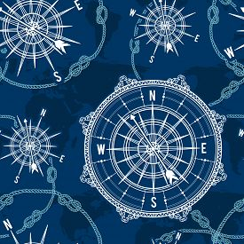 Seamless pattern with vintage compass, world map, wind rose and rope knot. Nautical background. Retro hand drawn vector illustration